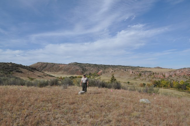 view from top of buffalo jump with a uniformed park employee standing in a field