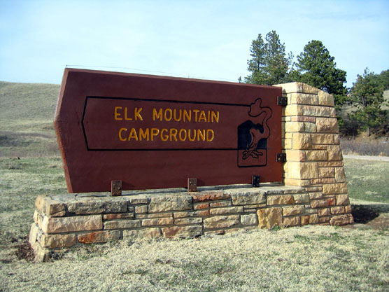 Entrance sign for Elk Mountain Campground in Wind Cave National Park.