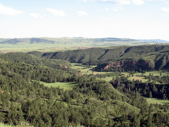 View overlooking a green valley.