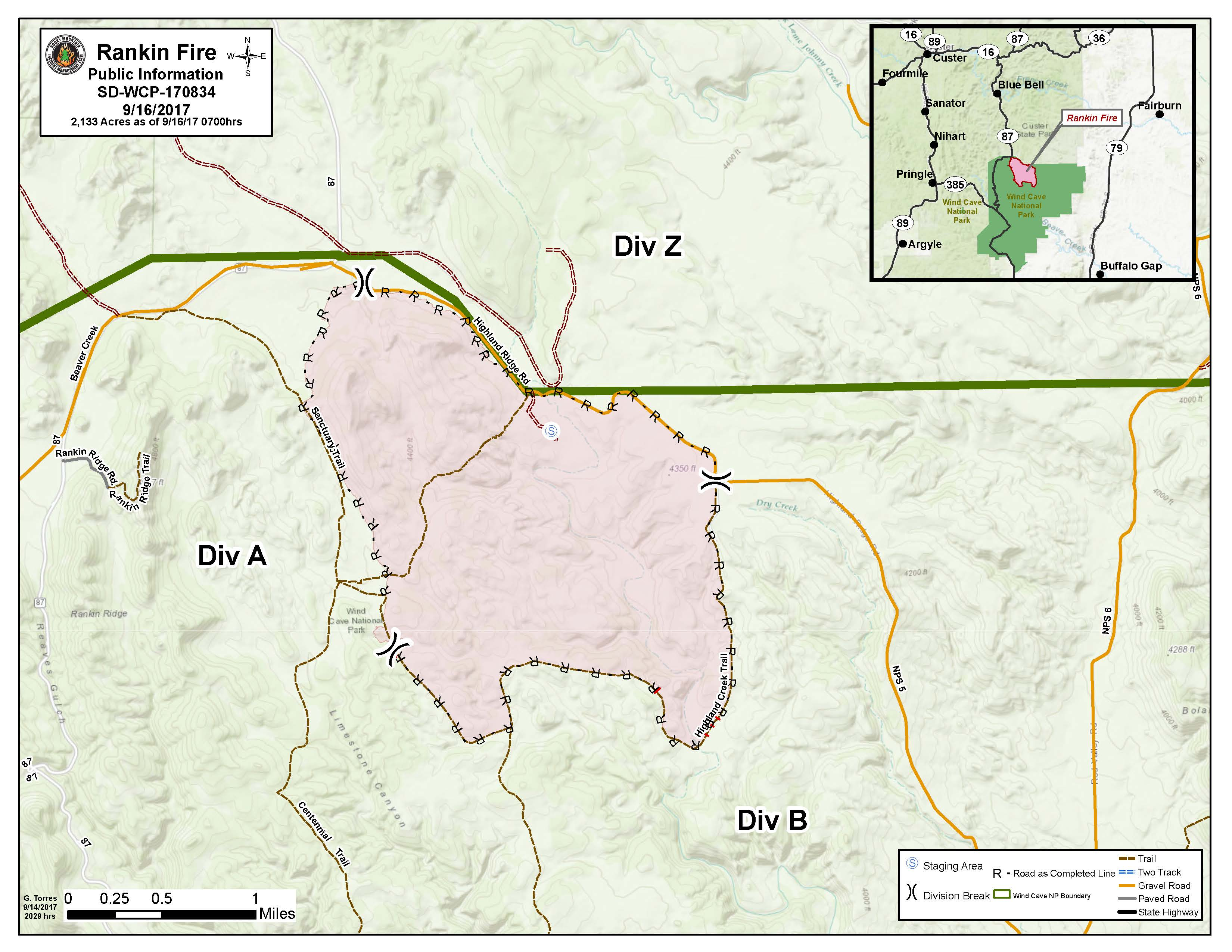 Map showing the extent of the Rankin Fire