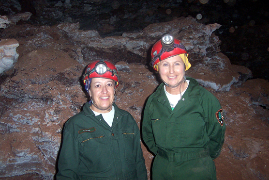 Superintendent Linda Stoll (left) and Director of the National Park Service Fran Mainella on the Wild Cave Tour in Wind Cave National Park.