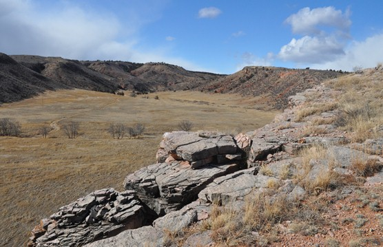 View looking into a valley from the top of the Sanson Buffalo Jump.