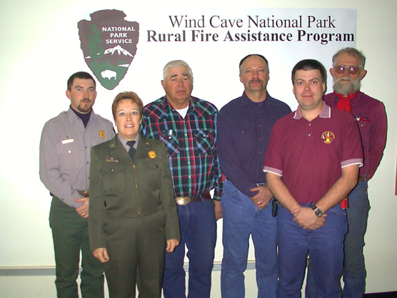 Pictured, from left to right, are: Kevin Merrill, Wind Cave National Park; Park Superintendent Linda Stoll; Hap Schroth, Buffalo Gap; Joe Harbach, Custer; Joel Behlings, Custer; Marc Lamphere, Cascade.