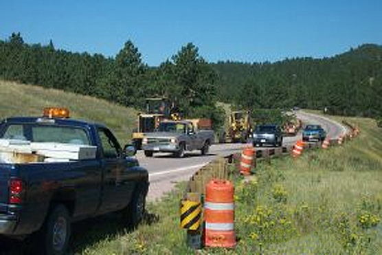 Road construction along U. S. Highway 385 in Wind Cave National Park.