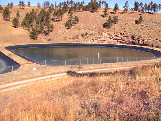 Current wastewater treatment evaporation lagoons.