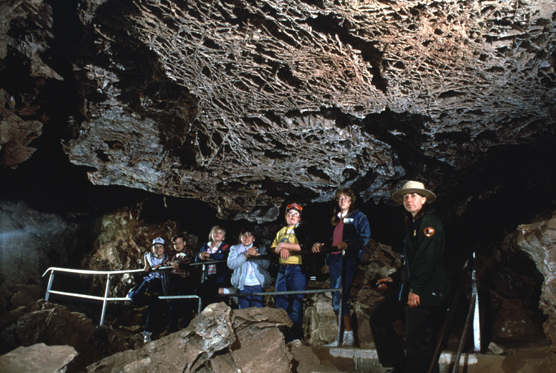 Park ranger and visitors along the Fairgrounds Cave Tour.