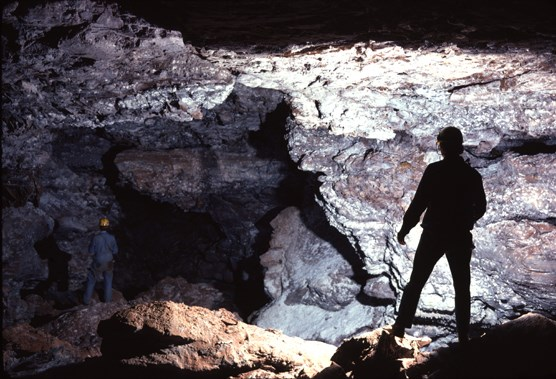 Cave explorers standing in Snowdrift Avenue in Wind Cave National Park.
