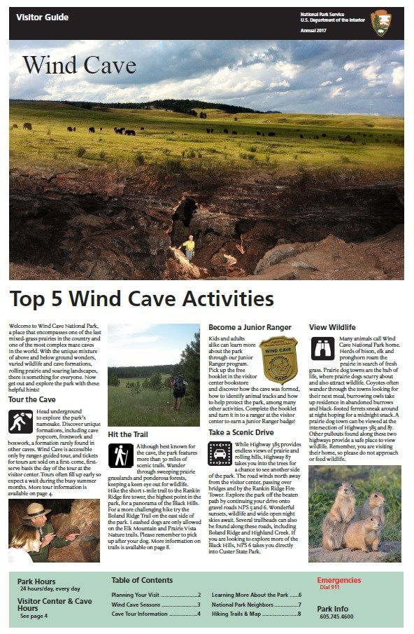 "The front page of Wind Cave National Park's 2017 Park Newspaper with the heading, ""Top 5 Wind Cave Activities"""
