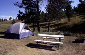Tent and picnic table at an area campground.