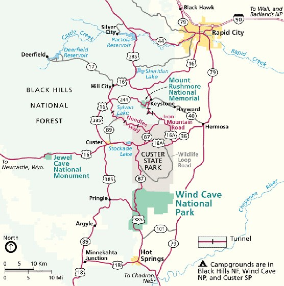 Wind Cave National Park Area Map