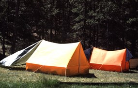Two orange tents at elk mountain campground.