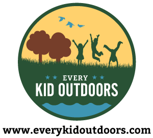 Logo showing kids playing outside with Every Kid Outdoors written underneath them
