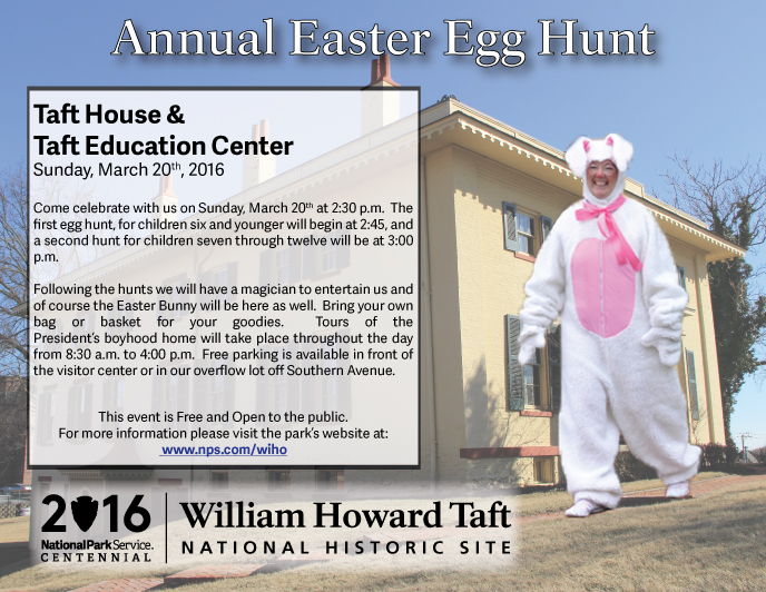 Volunteer in Easter bunny outfit