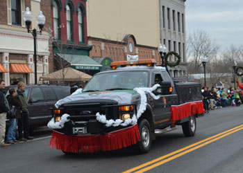 park truck decorated for It's A Wonderful Life Parade