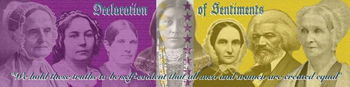 Image of the five women who organized the first women's rights convention, frederick Douglass, and a Haudenosaunee woman.