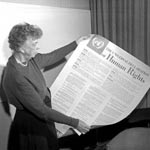 Eleanor Roosevelt holding the Declaration of Human Rights