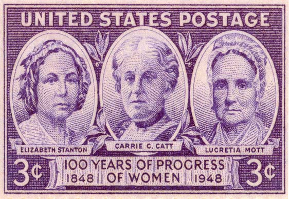 Postage Stamp with Elizabeth Cady Stanton, Carrie Chapman Catt, and Lucretia Mott. Issued in Seneca Falls, 1948.