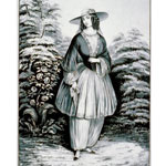 Currier and Ives Illustration of a woman wearing bloomers around 1852