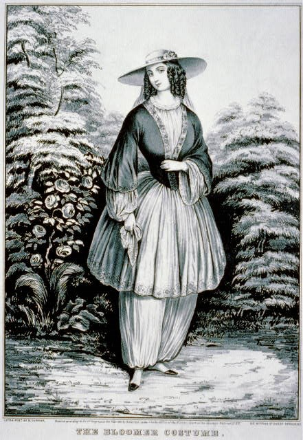 Cartoon of a woman wearing the Blommer Costume