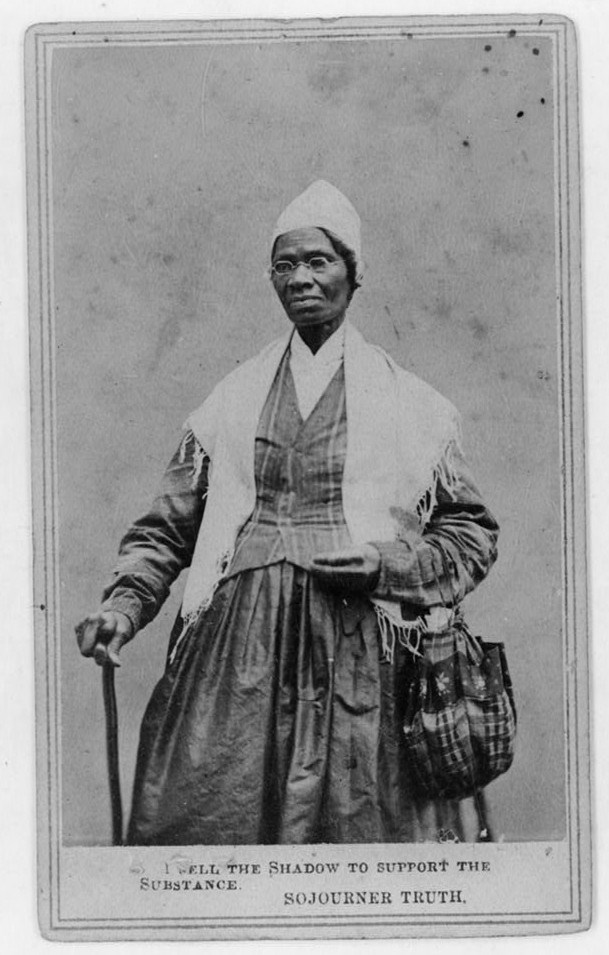 Sojourner Truth with cane and bag