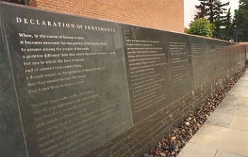 Waterwall with the Declaration of Sentiments and the names of the 100 men and women who signed it at the First Women's Rights Convention in July of 1848.