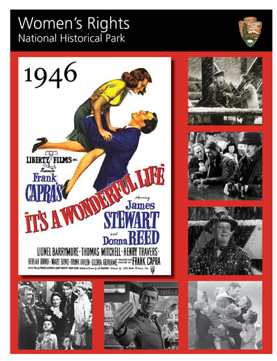 "1946 America Flyer cover with ""It's a Wonderful Life"" photos and movie poster"