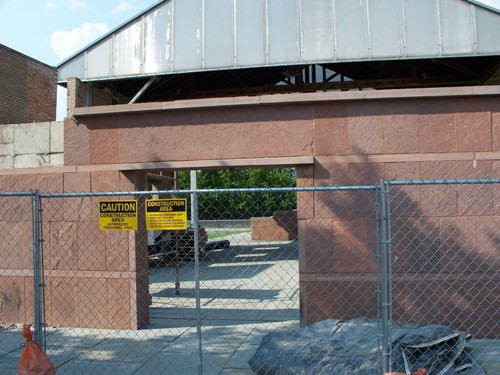 Rehab has started on Wesleyan Chapel. A Chain link fence now surrounds the entrance.