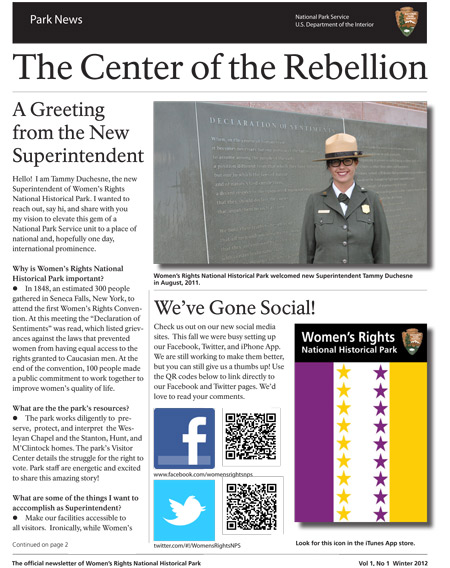 Cover of WORINewsletter Winter 2012 with a photo of Superintendent Duchesne and our social media icons.