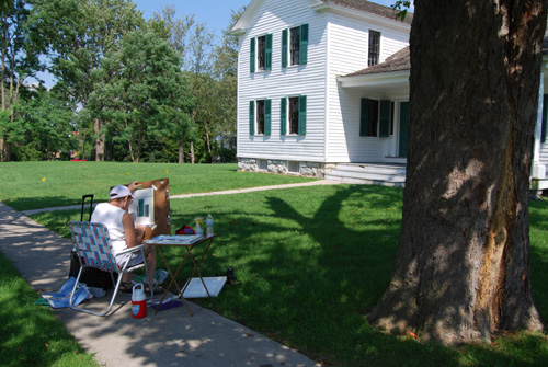 Rose Spinelli creating her work of art at the Elizabeth Cady Stanton House