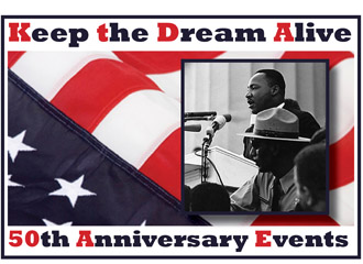 keep the dream alive logo with flag and photo of MLK
