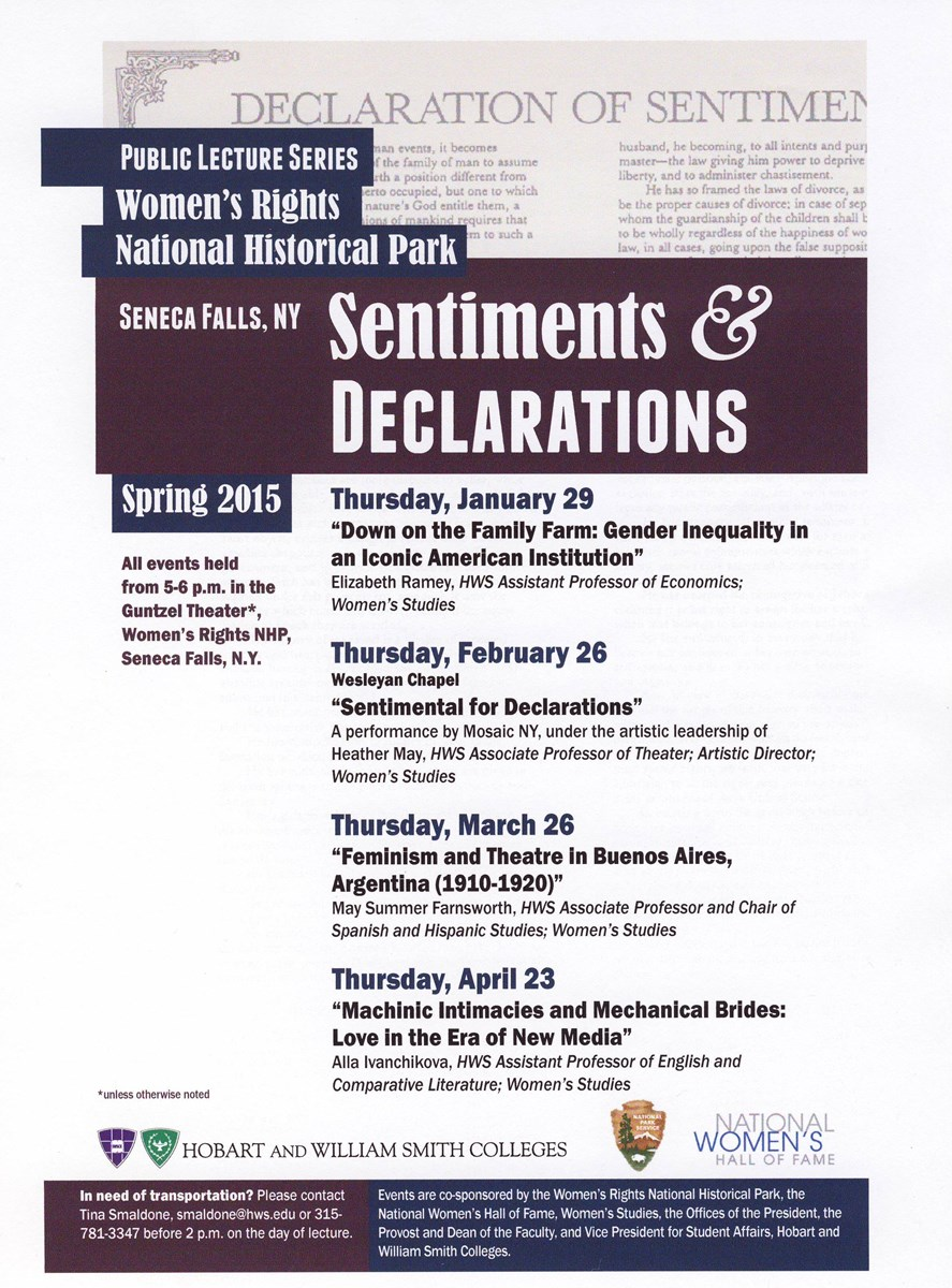 Sentiments & Declarations Spring 2015 lecture schedule