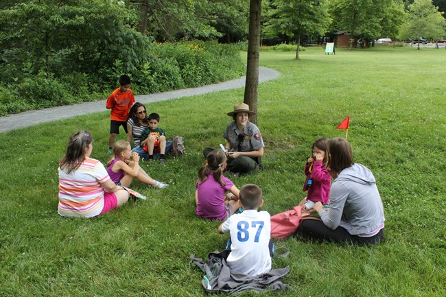 A ranger leads a program during a Jr Ranger Day in 2019.