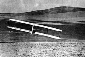 Gliding with Kill Devil Hill in back, 1902