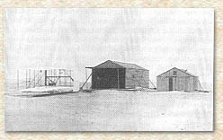 The Wright brothers' camp in 1903.
