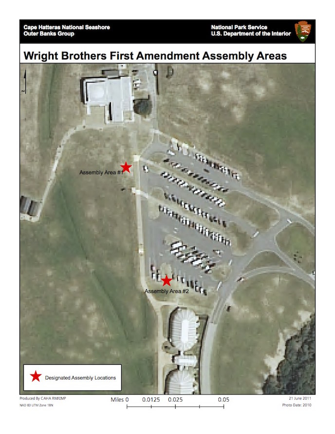 Wright Brothers National Memorial First Amendment Assembly Areas