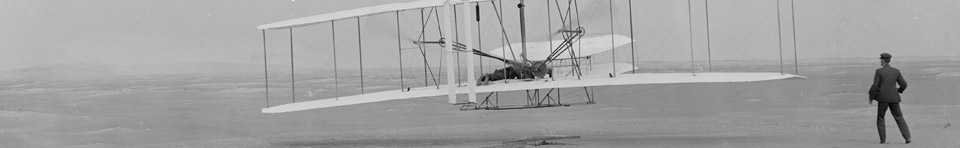 The iconic first flight of the Wright brothers in their 1903 Wright Flyer