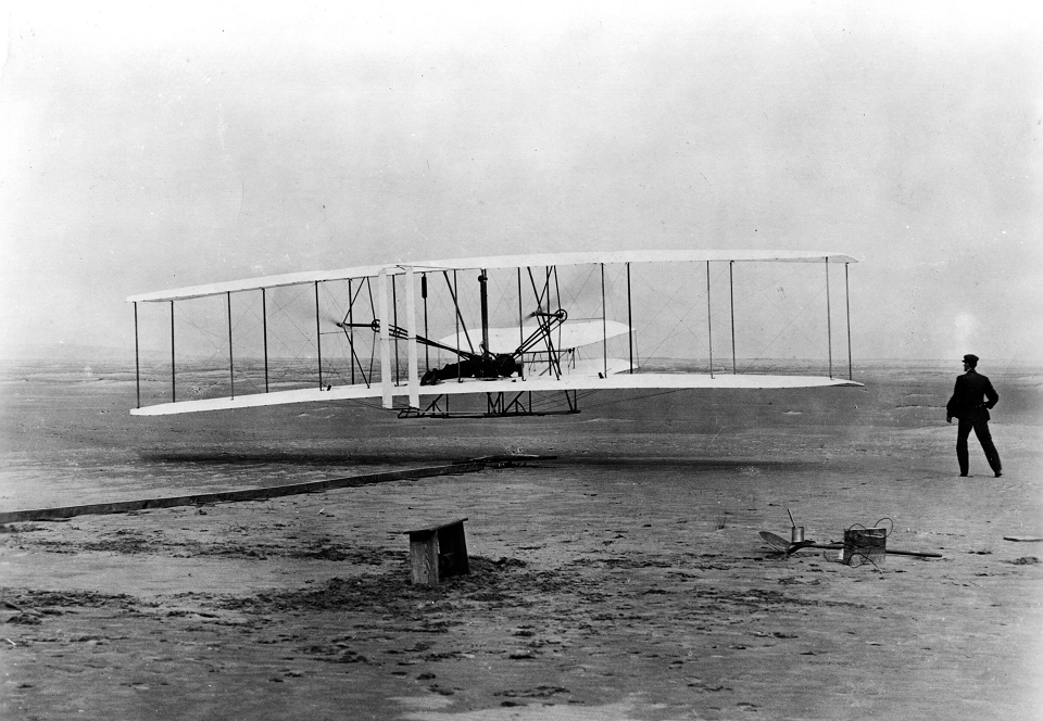 Orville Wright taking off during the Wright brothers' first successful flight