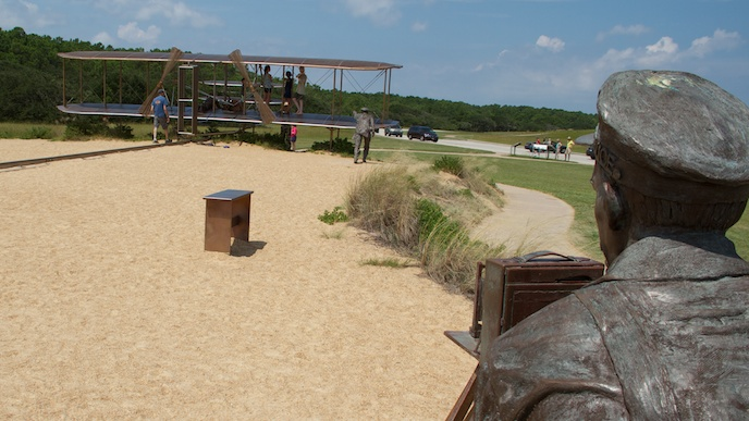 Sculpture of the Wright brothers' first flight