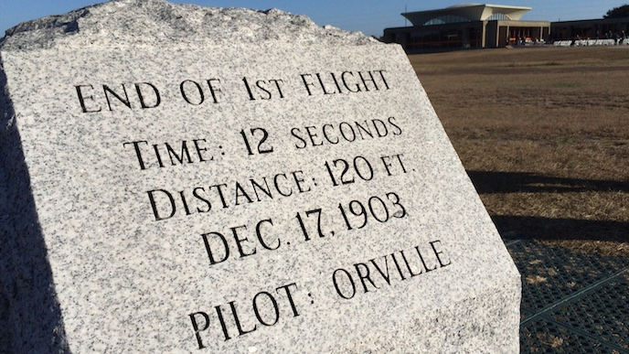 First flight marker and the visitor center