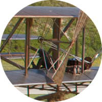 Sculpture of the Wright brothers' historic first flight.