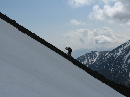 Climber on scree