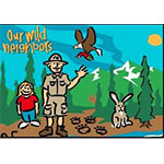 drawing of a ranger, child, hare and eagle