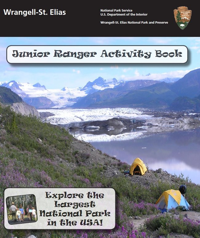 cover of junior ranger book with camping tents near a glacier, lake and mountains