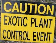 Exotic Plant control sign