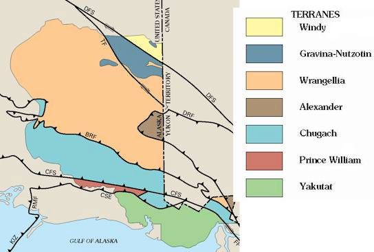 The various geologic terranes of Wrangell-St. Elias