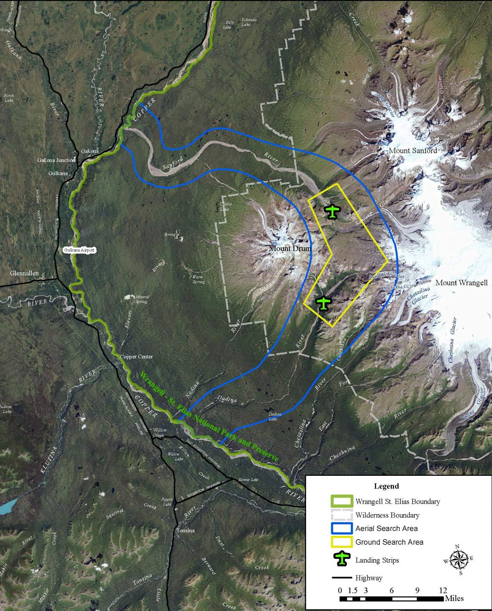 satellite imagery map depicting large, snowy mountains on the east side and flat, green valleys to the east. a wide river labelled 'sanford river' flows past a mountain named mount drum