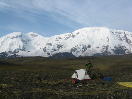 Camp in front of Mt Jarvis