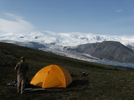 Camping above Long Glacier