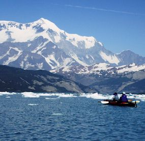Kayakers in Icy Bay have a great view of Mount St. Elias