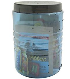 Transparent, plastic, bear resistant food canister